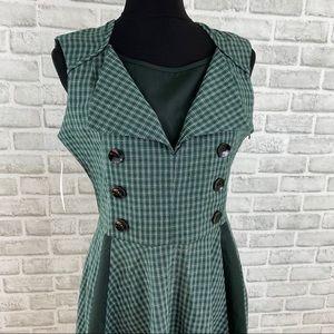 TopMelon green plaid checkered a-line retro dress